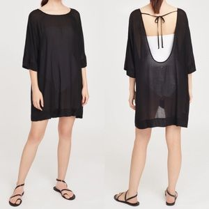 Cuyana Open-Back Mini Tunic black sheer swim dress